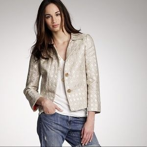 NWT. J. Crew Collection metallic silver jacket